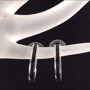 Silver Onyx Hoop Earrings Southwestern Gift